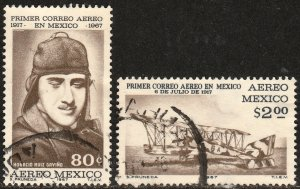 MEXICO C325-C326, 50th Anniversary of the 1st Air Mail Flightt USED (1222)