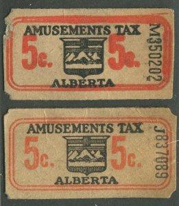 CANADA REVENUE ALBERTA 5¢ AMUSEMENTS TAX TICKETS