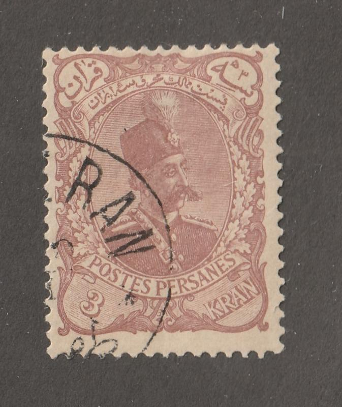 Persian Stamp, Scott#146, full gum, postmark, reprint, 3KR, #/L-72