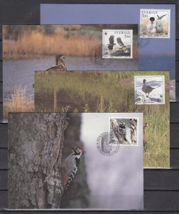 Sweden, Scott cat. 2097-2100. W.W.F., Birds issue. 4 Max. Cards. ^