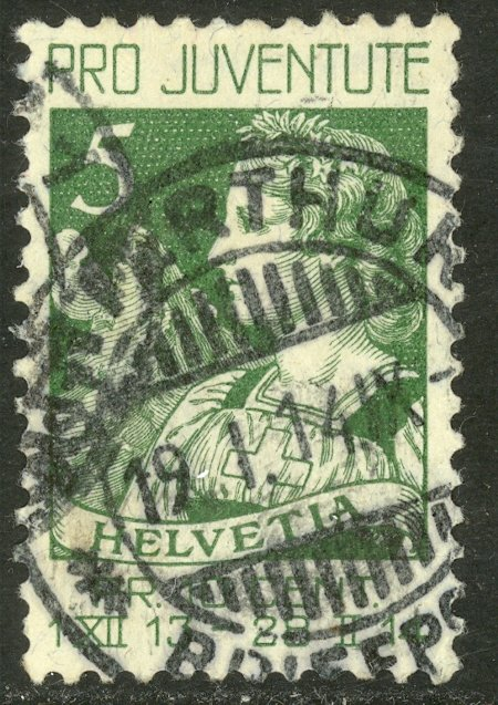 SWITZERLAND 1913 5c PRO JUVENTUTE Semi Postal Sc B1 VFU