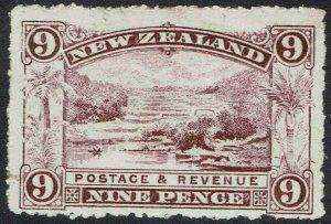 NEW ZEALAND 1902 PICTORIAL 9D WMK STAR NZ PERF 14