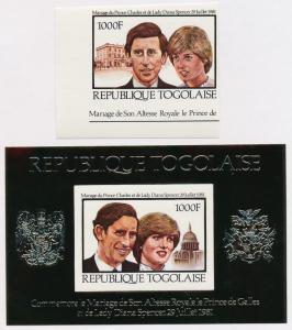 Togo 1105-6 imperf MNH Royalty, Charles & Diana Wedding