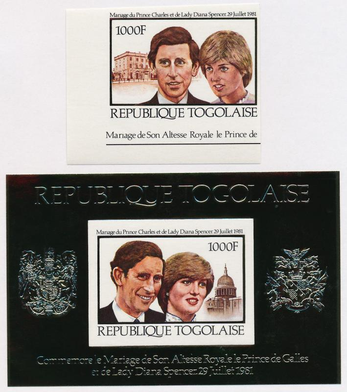 Togo 1105-6 imperf MNH Royalty, Charles & Diana Wedding