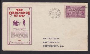 US Planty 795-35 FDC. 1937 Ordinance of 1787, New York F/D Cancel, Cachet Craft