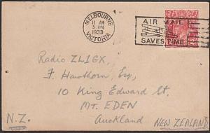 AUSTRALIA 1933 Radio QSL card GV 2d Melbourne to New Zealand...............57292