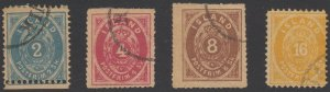 ICELAND 1873 Sc 1-4 KEY VALUES FORGERIES WITH CIRCUALR CANCELS (CV$6,400)