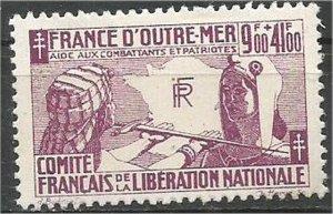 FRENCH COLONIES, 1943, MNH  9fr + 41fr  Patriots, Scott B2