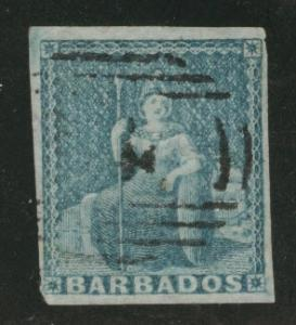 Barbados Scott 6  Britannia on white paper 1855 CV$70
