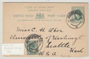 Cape Of Good Hope 1911 Uprated Postcard To Seattle Scarce Postal History J6040