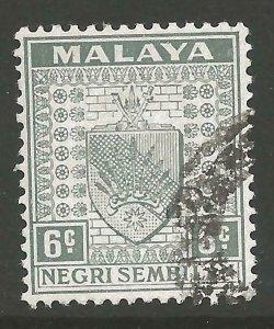 MALAYA NEGRI SEMBILAN SG28 1941 6c GREY USED