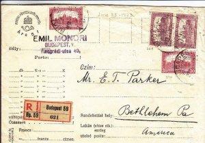 1923, Budapest, Hungary to Bethlehem, PA, Registered (24269)