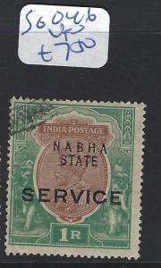 INDIA  NABHA    (P2807B)   KGV SERVICE 1R   SG O46   VFU