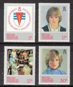 BRITISH ANTARCTIC 1982 Princess Diana; Scott 92-95, SG 109-12; MNH