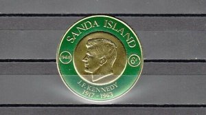 Sanda Island. Gold Coin Stamp showing President Kennedy. ^