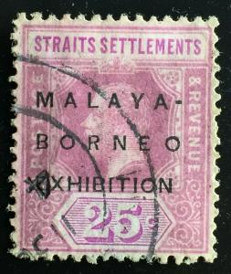 Malaya Borneo Exhibition opt Straits Settlements 1922 KGV 25c USED (No Stop)