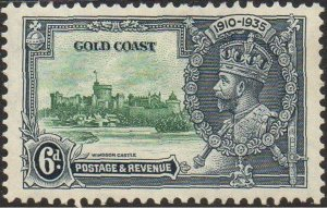 Gold Coast 1935 6d green and indigo (Silver Jubilee) MH