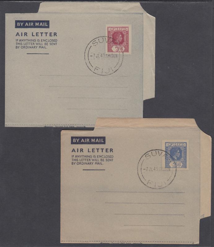 Fiji H&G FG1-FG2 used 1947-1949 KGVI Aerogrammes, 2 different