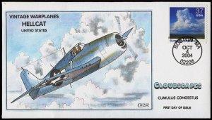 Collins Handpainted FDC Cloudscapes/Warplanes: U.S. Hellcat (10/4/2004)