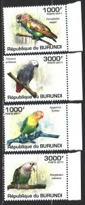 Burundi. 2011. 1974-77. Parrots, birds. MNH.