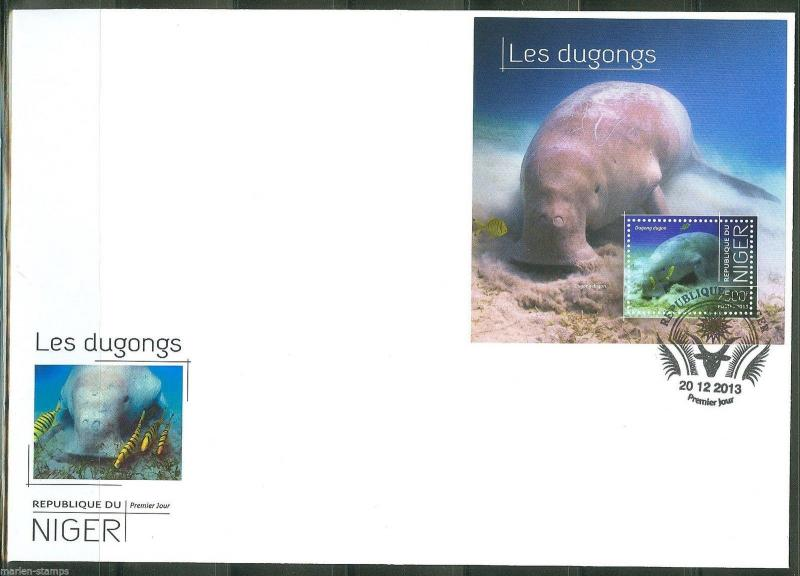 NIGER  2013 DUGONGS SOUVENIR SHEET  FIRST DAY COVER