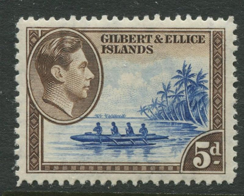 Gilbert & Ellice Is.- Scott 46- KGVI Definitive -1939 -MH - Single 5p -Stamp
