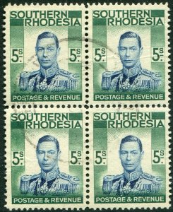 SOUTHERN RHODESIA-1937 5/- Blue & Blue-Green Block of 4 Sg 52 FINE USED V48278
