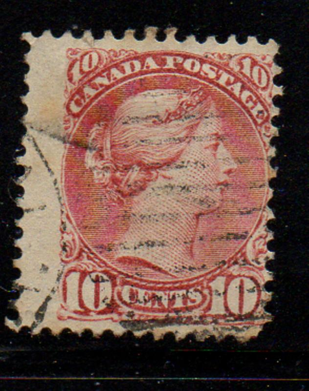 Canada Sc 45 10c brown red small Queen Victoria stamp used