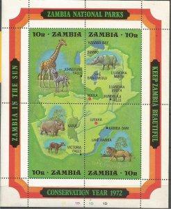 ZAMBIA , 1972, MNH Sheet of 4, Conservation Scott 85