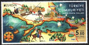 Turkey. 2020. 4577. Postal routes, horse, horn, europe-sept. MNH.