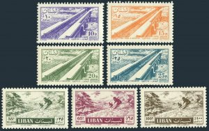 Lebanon C229-C235,lightly hinged.Michel 583-589. Irrigation Canal,Skiing.1957.