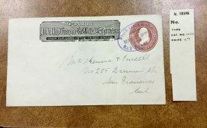 1887 SAN FRANCISCO COVER WELLS FARGO & Co's  Express PURPLE OVAL on  U277