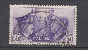 J29671, 1941 WWII italy used #416 hitler & mussolini