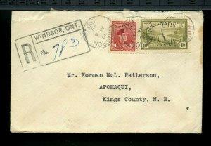 WINDSOR, ONT. 1949, AMF, split rings, to N.B. Registered cover Canada