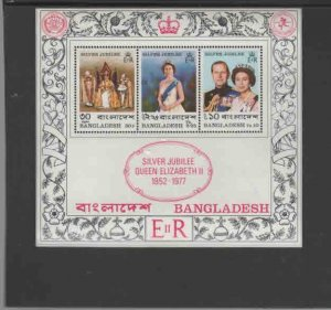 BANGLADESH #125a  1977  QEII  25TH. ANNIVERSERY   MINT VF NH  O.G  S/S