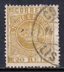 St. Thomas and Prince Islands - Scott #3 - Used - See description - SCV $2.75