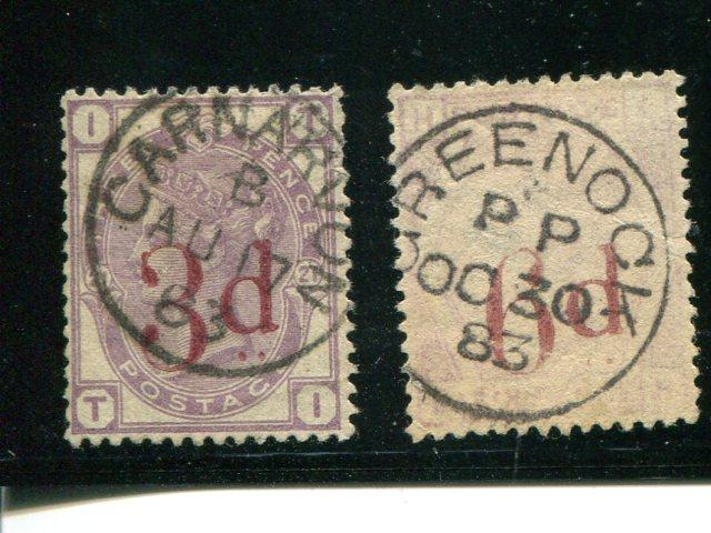 Great Britain #94 XF  #95 pale print both with premium cancel