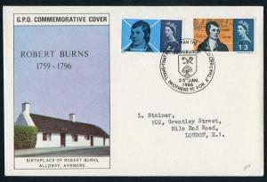 SG685p-6p 1966 Burns Phos First Day Cover with Edinburgh Special Postmark