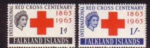 Falkland Islands Sc 147-8 1963 Red Cross stamp set mint NH