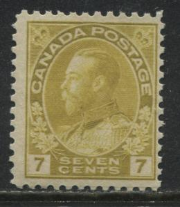 Canada KGV Admiral 7 cents yellow ocher unmounted mint NH