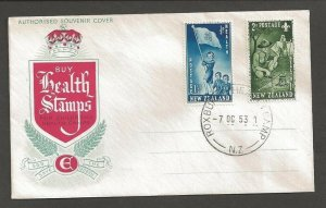 1953 New Zealand Health Camp Scouts Guides FDC Roxbury Health Camp