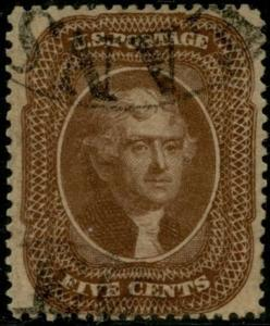 #30A 5¢ BROWN, TYPE II -- VF USED GEM -- CV $275.00 BP9425