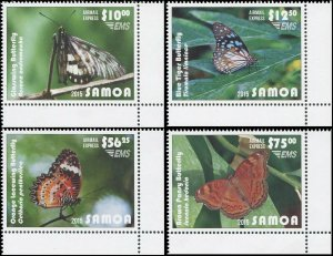 Samoa 2015 Sc C11-C14 lacewing glasswing brown blue tiger butterflies CV $114.50