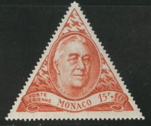 MONACO Scott CB6 MH* 1946 semi-postal Roosevelt airmail