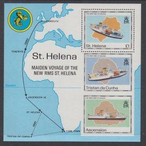St Helena 539 Ships Map Souvenir Sheet MNH VF