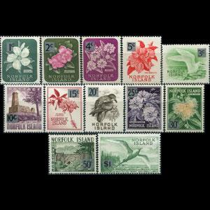 NORFOLK IS. 1966 - Scott# 71-82 Flora Surch. Set of 12 LH