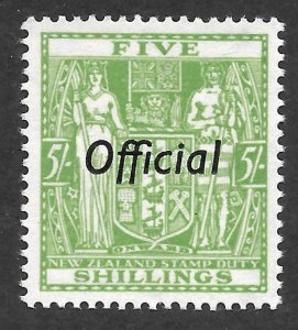 Doyle's_Stamps: 1938 MNH New Zealand 5 Shilling Official, Scott #O75**
