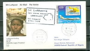 GABON 1985  1st FLIGHT AIR MAIL COVER to LAGOS #553...VERY NICE