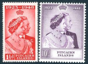 PITCAIRN ISLANDS-1948 Royal Silver Wedding Set Sg 11-12 LIGHTLY MOUNTED MINT