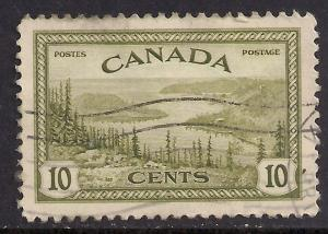 Canada 1946 - 47 KGV1 10ct Green Bear Lake used SG 402 ( D191 )